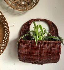 Boho Hand Woven Wicker Rattan  Hanging Basket Planter Rustic Tiki Prop