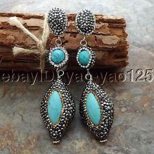 K061114 Turquoise Black Macarsite Earrings