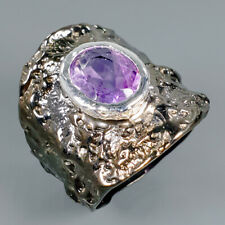 Unique Design Natural Amethyst 925 Sterling Silver Ring Size 9/R100873