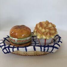 Restaurant Hamburger Fries in Basket 3 Pc Salt and Pepper Shaker Set