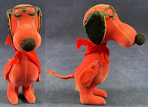 Vintage Dream Pets Dakin Japan Red Baron Goggles Snoopy Dog Sawdust Stuffed Toy