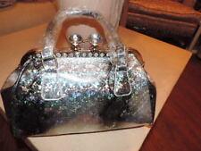 Women Purse Handbag Crossbody Sparkling Silver Tone Snake Print New Rhinestones