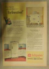 General Electric Refrigerator Ad: Lasts 5 Generations! GE Refrigerators! 1944