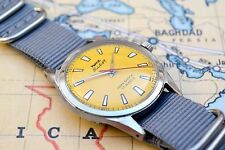 Vintage HMT Pilot Winding Men's Watch with Yellow Dial and Grey Strap