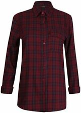 Checked Long Sleeve Casual 100% Cotton Tops for Women