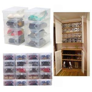 Pack o 10 fClear Shoe Boxes Storage Shoe Box Shoe Organiser Transparent Plastic
