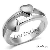 Women's Stainless Steel Forever Double Heart Promise Fashion Ring Size 5-10