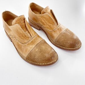 Bed Stu Sz 9 Rose Loafer Slip On Organic Leather Tan Ankle Boots Oxford Cap Toe