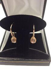 10kt Rose Gold Pear Shaped Morganite & Diamond  Halo Leverback Drop Earrings