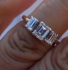 1.05 ct Emerald past present future diamond 3 stone engagement ring 14k YG