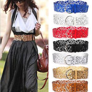 Women Hollow Out Belts Wide Buckle Cinch Waist Belt Dress Faux Leather Waistband