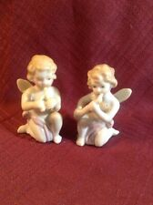 Tiny Pair Of Mini PIANO ANGELS- Playing Flutes- Japan