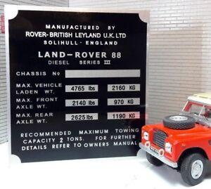 Land Rover Series 3 Bulkhead Gearbox/Transfer Box Information Plate 88 Diesel