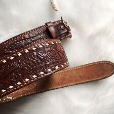 Vintage Leather Tooled Genuine Cowhide Brown Belt 30