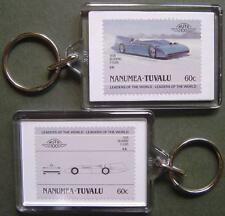 1935 BLUEBIRD V (Malcolm Campbell WLSR) Car Stamp Keyring (Auto 100 Automobile)