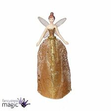 Gisela Graham Gold Glitter Tinsel Angel Fairy Christmas Tree Topper Decoration