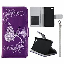 For Iphone 5 , 5S Wallet Silver Butterfly Purple Cover Split Leather Case Uni