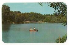 Harrison Lake~Ohio~ Photo Postcard Couple In Row Boat On Lake~ Unused