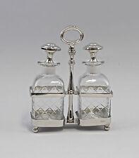 Silberfarbene Menage Garnitur Set Öl/Essig vernickelt Glas geschliffen 9977386