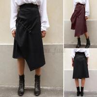 ZANZEA Damen Hochbund A-Linie Rock Leder Mode Unregelmäßigkeit Saum Kleid Dress