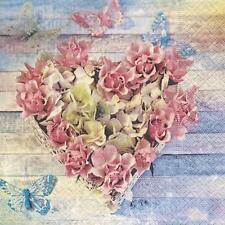 20x Carta Pranzo Tovaglioli Decoupage. ROSE in forma, rosa, shabby chic - 551P