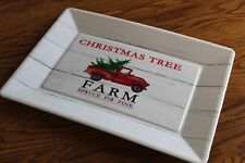 Christmas Farmhouse Decor, Red Truck, Farm, Plate, Plastic