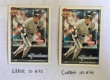 1991 Don Mattingly Error and Correct 2 Card lot 10 Hits 101 Hits Yankess Rare