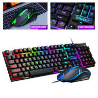 LED Gaming Keyboard & Mouse Set Multi-Colored Changing Backlight Mice Mechanical