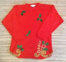 Ugly Tacky Christmas Sweater Vest Red Sequins! Medium M Long