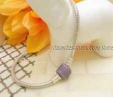 Authentic Pandora Silver PURPLE PAVE Signature Charm Bracelet 21cm 8.3 RETIRED