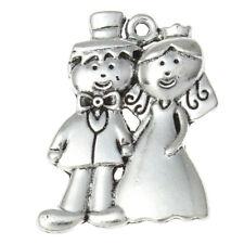 5 Bride Groom Wedding Couple Antique Silver Charms Pendants 25mm x 33mm (057)