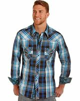 Rock & Roll Cowboy Men's and Turquoise Plaid Long Sleeve Shirt - B2s4103