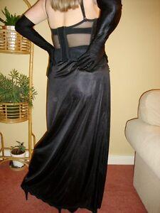 Black Silky with Lacy Hem Long Formal Length Half Slip Petticoat L-XL-XXL BNWT