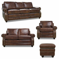 "New Luke Leather Dark Caramel Brown Italian Leather  ""Levi"" Chair only W/Studs"
