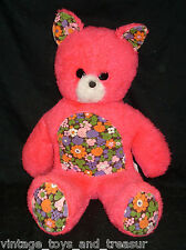 "17"" VINTAGE 1970 PRINCESS PINK TEDDY BEAR STUFFED ANIMAL TOY PLUSH FLOWERS OLD"