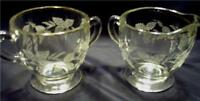 CRYSTAL ETCHED CREAM & SUGAR SET GRAPES  LEAVES PATTERN