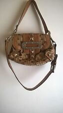 guess purse small brown/tan with animal print interior magnetic snap closure
