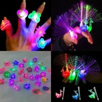 10Pcs Kids LED Glow in Dark Flashing Finger Light Rings Xmas Party Favor Toys