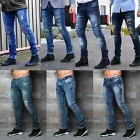 DML mens Designer Branded Skinny Stretch Distress Ripped Repair fashion Jeans