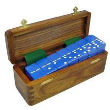 Domino Double Six 6 Blue Jumbo Tournament Pro Size Spinners Sheesham Wood Box
