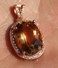 Imperial Topaz 11.55ct,Rose Gold Plated,Solid Sterling Silver Pendant,Natural,