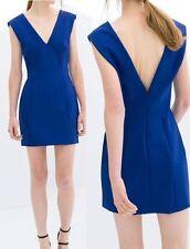 ZARA BLUE V NECK DRESS SIZE LARGE REF 2123 877