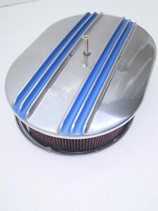 BILLET ALUM 12'' X 2'' BLUE CENTER FINN  AIR CLEANER W/WASHABLE FILTER