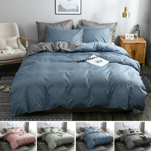 Reversible Solid Color Bedding Kit Duvet Cover Quilt and Pillowcase Bedding Set