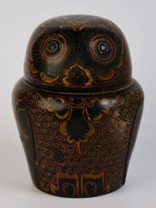 Early 20th Century, Antique Burmese Lacquerware Owl Shaped Container