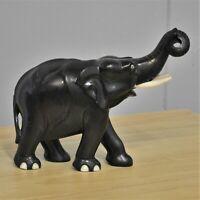 Ebony Elephant carved wood with tusks 17 cm high
