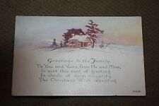 Vintage Postcard Greetings From The Family Christmas Poem, Winter House Scene