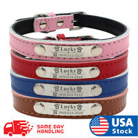 Personalized Dog Collar Leather Padded Name ID Tag Engraved Free XS-L