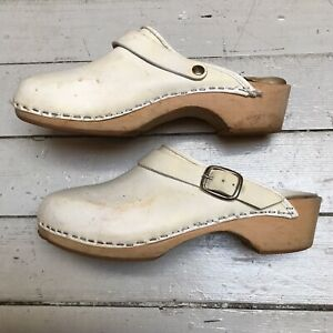 VTG White Leather Wood Clogs Sling Back Buckle Strap Slip On Shoes 6
