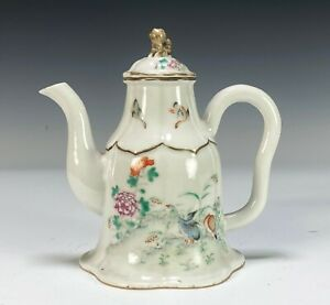 Unusual Antique Chinese Porcelain Teapot with Birds an Flowers